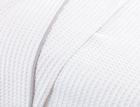 Dimanche Tek Kişilik Gofre Pike - Beyaz / Gri