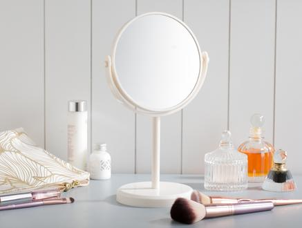 Nera Çift Taraflı Masa Aynası - Ekru