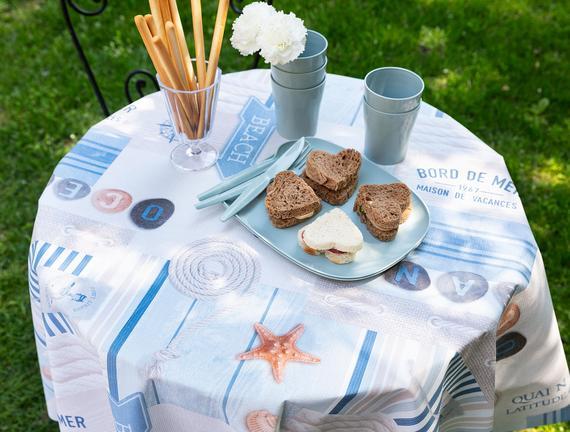 Rusti Silinebilir Masa Örtüsü - Mavi - 140 R