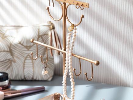 Voile Dekoratif Takı Standı - Gold