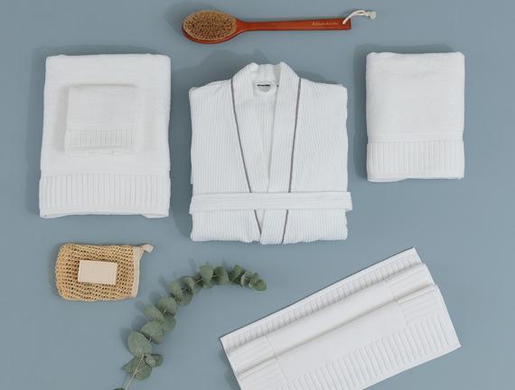 Piano Kimono Unisex Bornoz -Beyaz