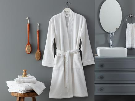 Ryella Kimono Unisex Bornoz - Beyaz