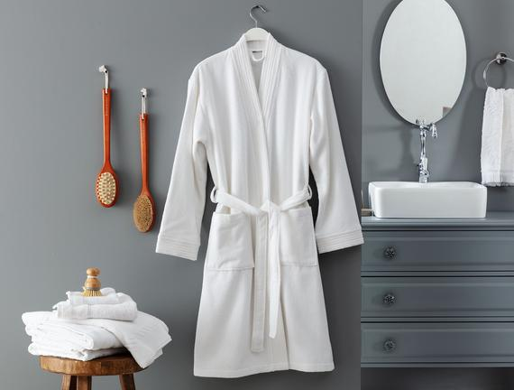 Stripe Kimono Unisex Bornoz - Beyaz