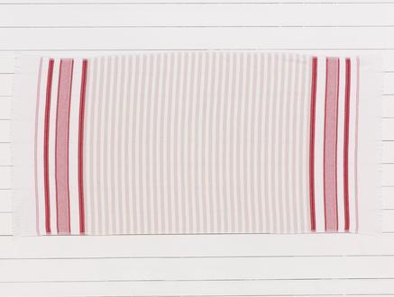 Hervey Armürlü Plaj Havlusu - Bej / Kırmızı - 75x150 cm