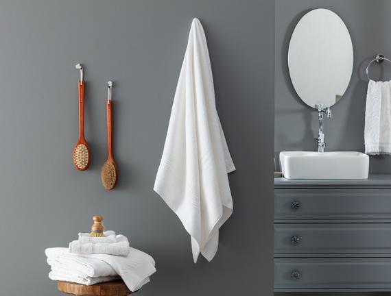 Stripe Armürlü Banyo Havlusu - Beyaz