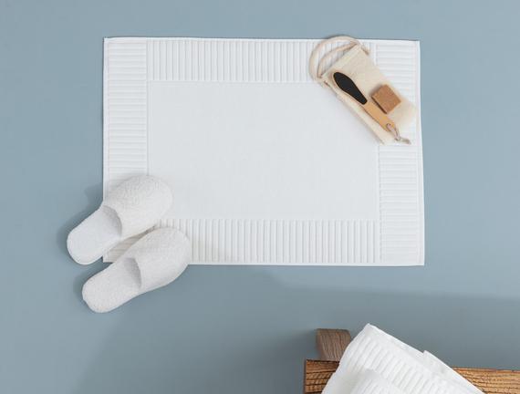 Piano Armürlü Ayak Havlusu - Beyaz - 50x70 cm