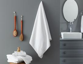 Riz Jakarlı Banyo Havlusu - Beyaz