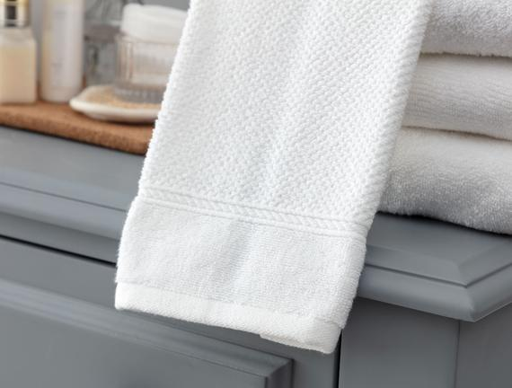 Riz Jakarlı El Havlusu - Beyaz - 30x46 cm