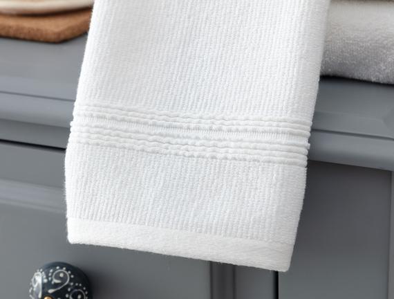 Stripe Armürlü El Havlusu - Beyaz - 30x46 cm