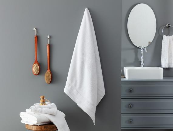 Ryella Armürlü Banyo Havlusu - Beyaz - 80x150 cm