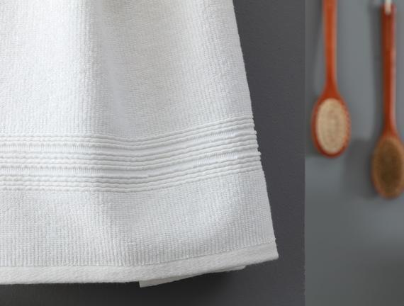 Stripe Armürlü Yüz Havlusu - Beyaz - 50x90 cm