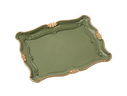 Camelote Varaklı Küçük Tepsi - Koyu Yeşil