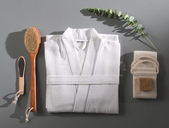 Leeroy Erkek Kimono Pike Bornoz - Beyaz