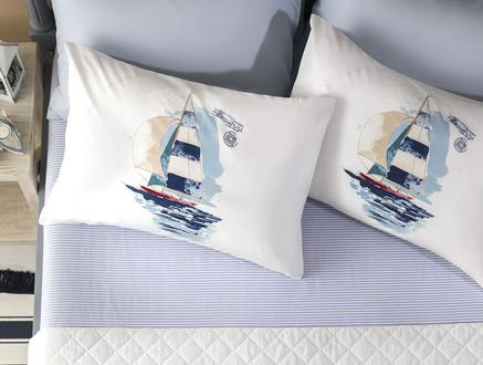 Sailor Ranforce Çift Kişilik Çarşaf Takımı - Indigo