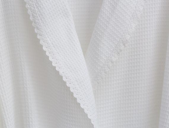 Maycee Kimono Dantelli Kadın Pike Bornoz - Beyaz