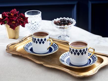 Bernelle New Bone China Kahve Fincan Takımı 4'lü - Mavi