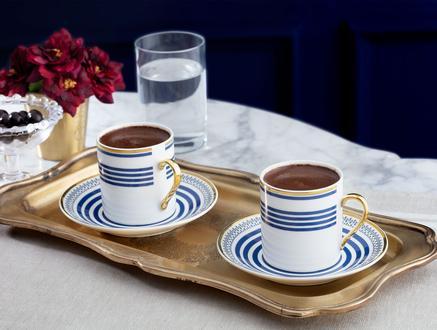 Fadette New Bone China Kahve Fincan Takımı 4'lü - Mavi