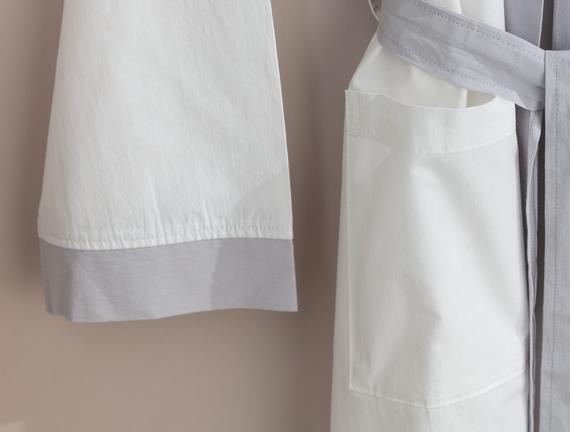 Platt Kimono Percale Bornoz - Beyaz / Gri