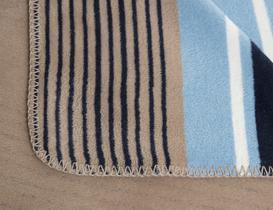 Belle Çizgili Pamuklu Tek Kişilik Battaniye - Gri / Lacivert
