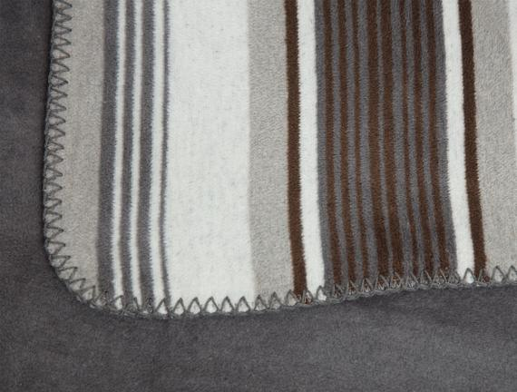 Belle Çizgili Pamuklu Çift Kişilik Battaniye - Gri / Kahve