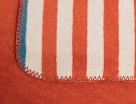 Belle Çizgili Pamuklu Tek Kişilik Battaniye - Kiremit / Mavi