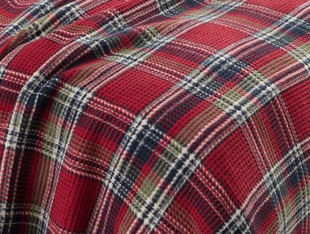 Odline Tek Kişilik Ekoseli Pamuklu Battaniye - Yeşil / Kırmızı