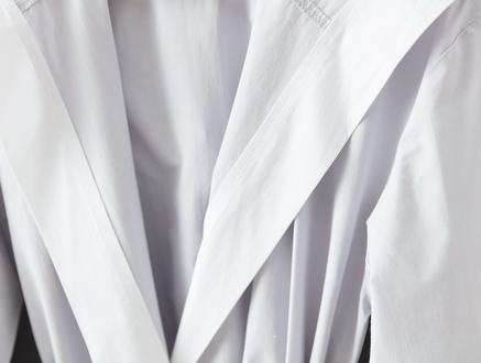 Voleta Kapüşonlu Percale Bornoz - Gri / Beyaz