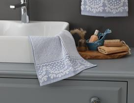 Tiny Bordürü Jakarlı El Havlusu - Mavi / Beyaz