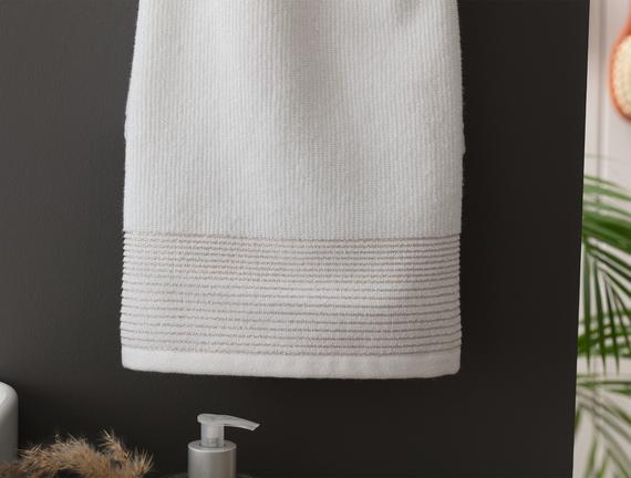 Orient Lurexli Yüz Havlusu - Beyaz - 50x80 cm