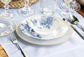 Gold Rose 16 Parça Yemek Takımı - Mavi