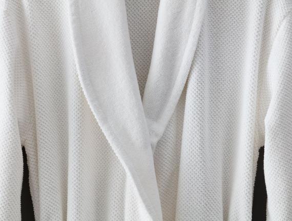 Riz Şal Yaka Unisex Bornoz - Beyaz