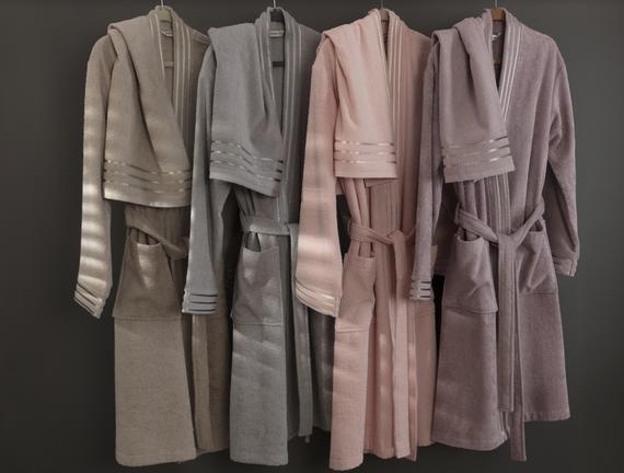 Eliza Kimono Floşlu Kadın Bornoz Seti - Gri