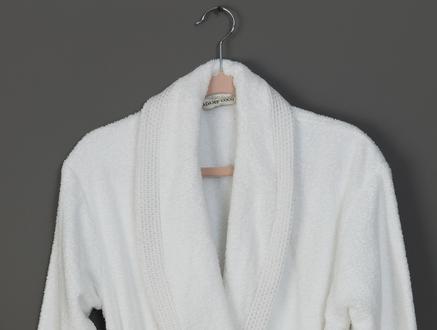 Gace Şalyaka Lurexli Kadın Bornoz Seti - Beyaz / Gri