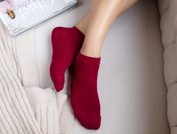 Daily Bambu Pirinç Patik Çorap - Carmen Kırmızı