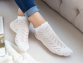 File Patik Kadın Çorabı - Ekru