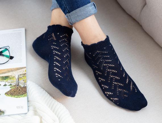 File Patik Kadın Çorabı - Lacivert