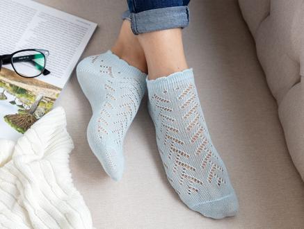 File Patik Kadın Çorabı - Mavi