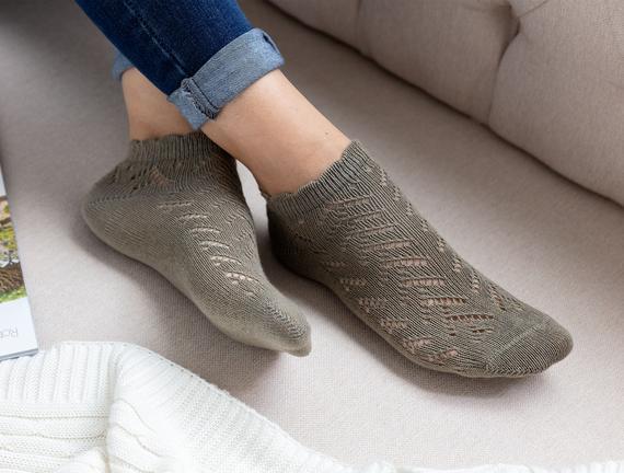 File Patik Kadın Çorabı - Haki