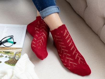 File Patik Kadın Çorabı - Bordo