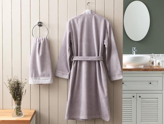 Allard Kimono Dantelli Kadın Bornoz Seti - Mürdüm