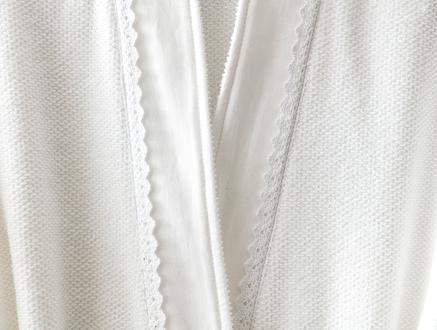Allard Kimono Dantelli Kadın Bornoz Seti - Beyaz