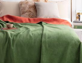 Arcadia Çift Taraflı Tek Kişilik Battaniye - Yeşil / Kiremit