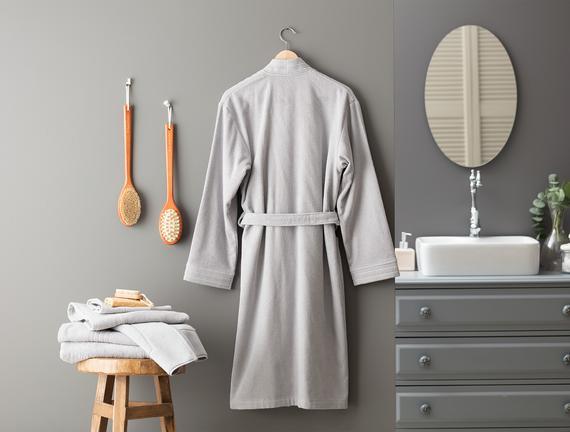Stripe Kimono Unisex Bornoz - Gri
