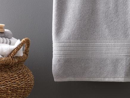 Stripe Armürlü Banyo Havlusu - Gri