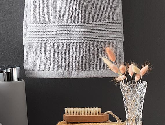 Stripe Armürlü Yüz Havlusu - Gri - 50x90 cm