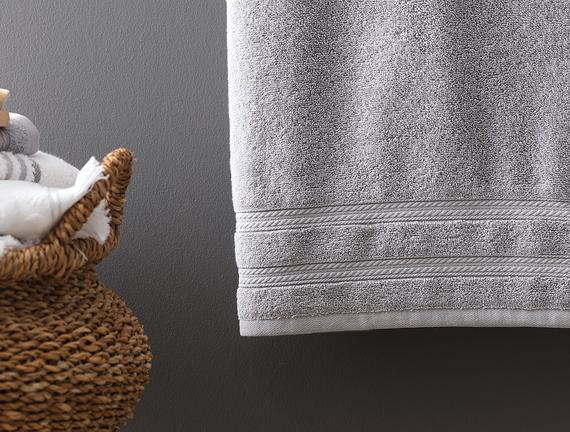 Ryella Armürlü Banyo Havlusu - Gri - 80x150 cm