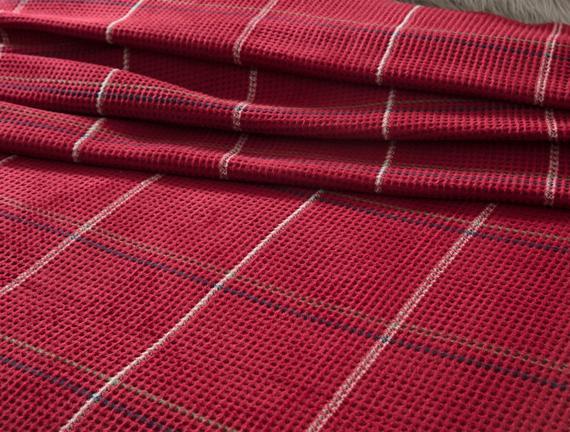 Odline Tek Kişilik Ekoseli Pamuklu Battaniye - Kırmızı