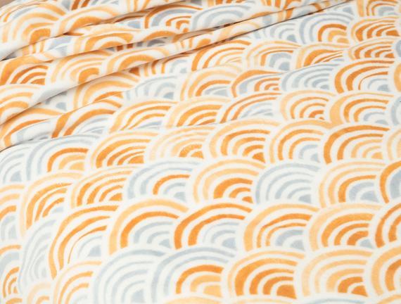 Raymond Wellsoft Baskılı Çift Kişilik Battaniye - Mavi / Turuncu