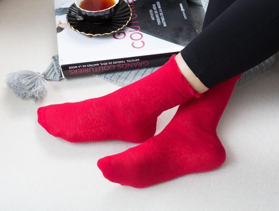 Bord Kadın Soket Çorap - Carmen Kırmızı