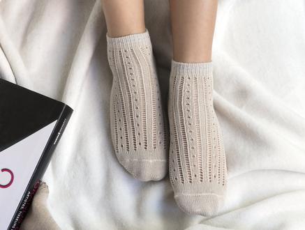 Souffle Patik Çorap - Taş